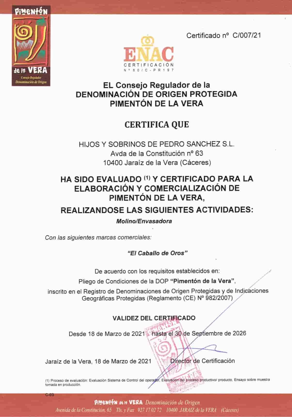 certificado piment贸n de la Vera